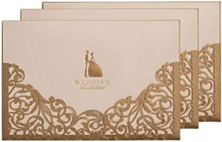 Gold Hollow Laser Cut Invitations Card for Wedding Bridal Showers Engagement, 12 Pack