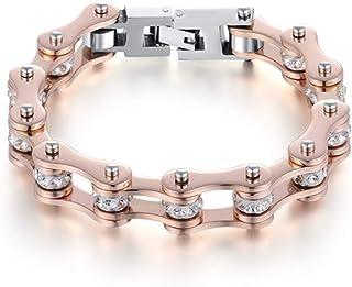 Bracciale del motociclista braccialetto uomo donna in acciaio inox nel colore oro rosato con cristalli centrali bianchi co...