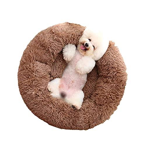 litulituhallo Cama de gato para perro redondo nido de mascota extra suave cómodo lindo cojín lavable marrón