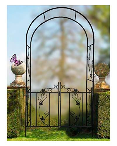 HLMBQ Arco de rosa para jardín negro con puerta enrejado arco, arco duradero para plantas trepadoras, flores al aire libre, decoraciones para fotomatones de 214 x 110 x 37 cm