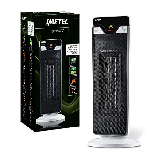 Imetec Eco Ceramic Diffusion CFH2-100 Oscillating Heater with Ceramic Technology Low Energy Consumption, Oscillating 6 Temperature Functions
