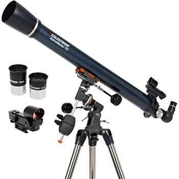 Celestron - AstroMaster 70EQ Refractor Telescope – Refractor Telescope for Beginners - Fully-Coated Glass Optics - Adjustable-Height Tripod - BONUS Astronomy Software Package