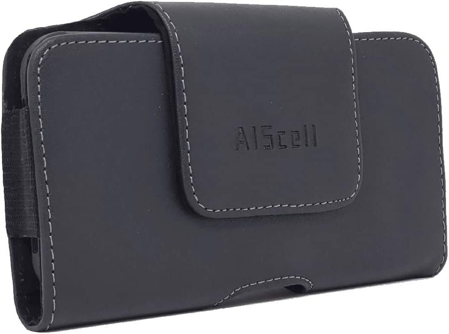 AISCELL Belt Holster for iPhone 11 Pro,XS, X,iPhone 8, 7, 6s / 6, SE2 (2020) Side Load Black Leather Case Magnetic Flap Swivel Clip Pouch ,Fits Slim Case on or Naked Phone 5.80X2.75X0.50 Inches
