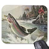 Gaming Mouse pad,Vintage Rainbow Trout Fish, Fisherman Fishing Mouse Pad