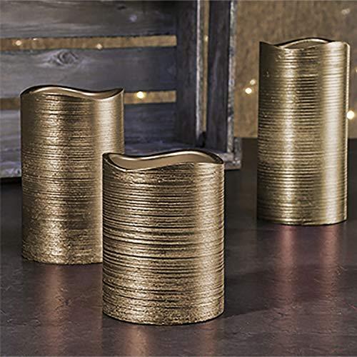 Preisvergleich Produktbild 3er Set LED-Wachs-Kerzen-Set Leuchten Wachs Flammenlos Gold