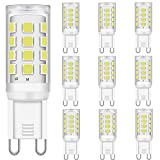 LED G9 Bombillas 2W Equivalente a 15W 20W 25W 28W Halógena Bombillas, Blanco frío 6000K, 300LM, CRI 85, G9 Enchufe LED Lámpara, sin parpadeo, no regulable, CA 220-240V, paquete de 10