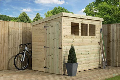EMS Retail WOODEN GARDEN SHED 8X8 SHIPLAP PENT SHED TANALISED TONGUE & GROOVE 3 WINDOWS