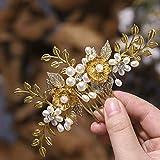 Edary Blume Hochzeit Haarkämme Blätter Braut Kopfschmuck Perlen Perle Haarschmuck für Frauen und Mädchen (Gold)