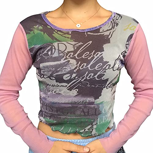 Donne Crop Top Y2K Manica Lunga T-Shirt Tee Sexy Stampa Grafica Camicia Slim Fit Camicetta FallTops E-Girl Streewear, B-rosa, L