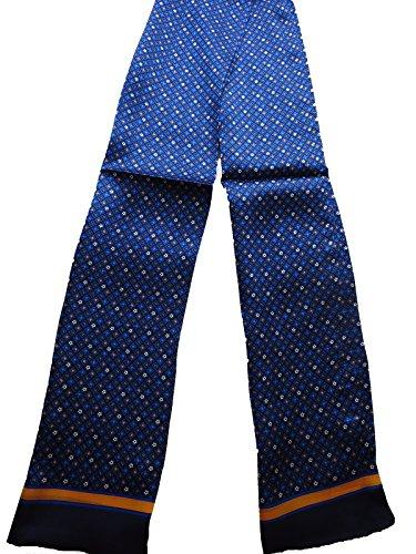 100%シルクマフラーメンズ男性用2層シルクスカーフメンズストールカジュアル(小紋柄ブルー)