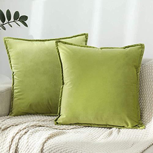 DAOXU 45x45 Funda de cojín de Terciopelo para Ropa de Cama, Paquete de 2, Funda de Almohada Decorativa para sofá y Funda de sofá (Verde Claro, 45x45cm(2pcs))