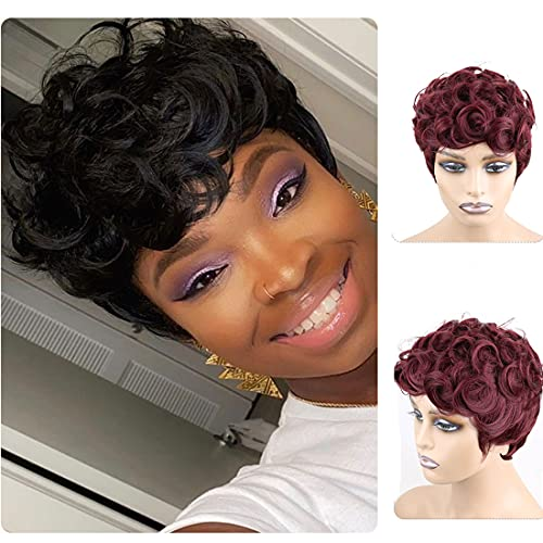 Enjeein Short Curly Pixie Synthetic Wigs for Black Women Wine Red Color Pixie Wavy Wig with Bangs Natural Looking Fiber Hair
