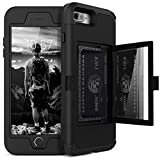 iPhone 7/8/SE 2020 Wallet Case - WeLoveCase Defender Wallet Design with Hidden Back Mirror and Card Holder Heavy Duty Protection Shockproof 3 in 1 All-Round Armor Case for iPhone 7 8 - Black