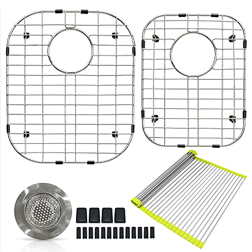 SINK GRIDS - FINEST Stainless steel PROTECTORS FOR KITCHEN SINK 60/40 - (16 X 13 in)(14,5 X 11,26 in) - BEST POLISHED - UPGRADED GIFTS : DISH RACK, STRAINER and RUBBER PROTECTORS for your GRIDS