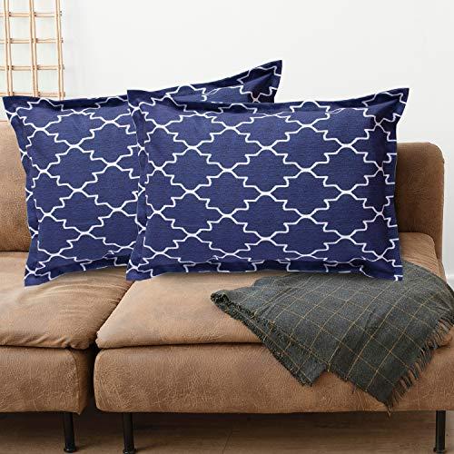 Viste tu hogar Pack 2 Fundas de Cojin 40x60 cm, Algodón y Poliéster, para Decoración de Hogar en Color Azul Oscuro con Formas de Diamante.