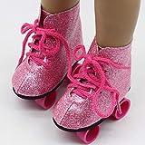 POHOVE Patines Ruedas Patineta Botas Hielo Juguetes Accesorio Cumpleaños Mini Zapatos Brillantes Moda Niñas Entretenimiento para bebés para muñecas Americanas 18 Pulgadas(Rosado)