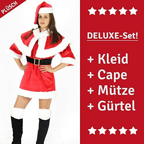 Foxxeo 40176 | Premium Damenkostüm für Weihnachten - Weihnachtsmann Kostüm für Damen | Größe XS, S, M, L | sexy Weihnachtsfrau Weihnachtsmannkostüm Kleid Miss Santa, Größe:S