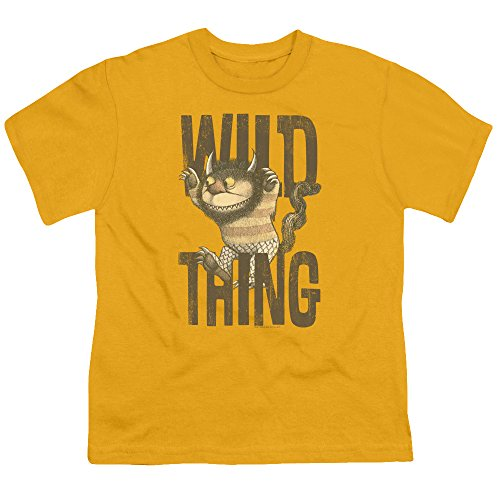 Where The Wild Things Are - Wo die Wilden Kerle sind - Jugend-wildes Sache-T-Shirt, Large, Gold