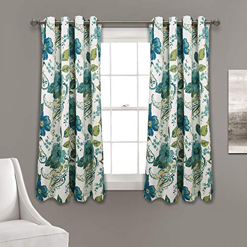 "Lush Decor, Blue Floral Paisley Room Darkening Window Curtain Panel Pair, 63"" x 52"""