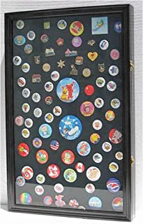 Large Pin Medal Display Case Shadow Box Display Case, with Glass Door, Lockable, 25