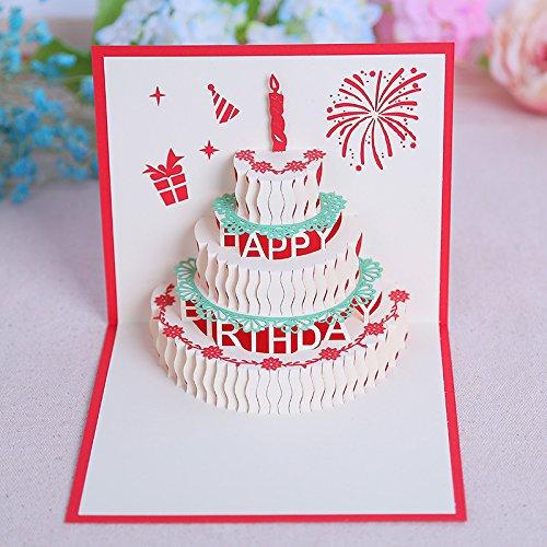 KUNSTIFY Tarjeta de felicitación 3D desplegable de regalo para novia, novio, hombres, mujeres, padre, madre, feliz cumpleaños, tarta de cumpleaños (tarta de cumpleaños roja)