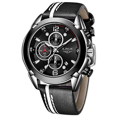 LIGE Relojes Hombres Reloj Deportivo de Cuarzo Reloj de Pulsera de Cuero Casual Reloj analógico Impermeable Cronógrafo Multifunción para Hombres de Negocios Militar Dial Negro