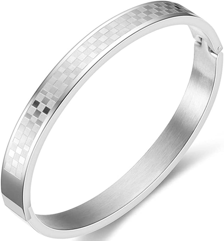 10mm Width Stainless Steel Square Pattern Open Clasp Cuff Bangle Bracelet