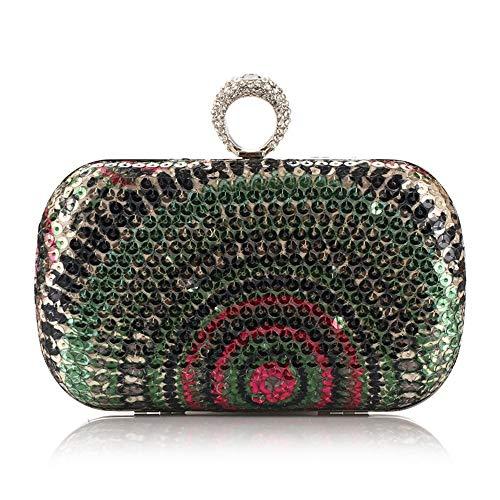 FDGH Bolsos - Diamond-Impresos con Lentejuelas Bolso De Noche Temperamento, Bolso del Partido, Bolso De Hombro, 16 * 5.5 * 9 Cm Exquisita Bolsa de Banquete (Color : Green)