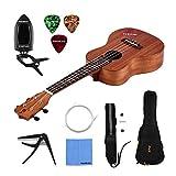 Walory UK-C10 Ukulele de Concierto de 23 Pulgadas Madera de Caoba Guitarra Hawaiana para Principiantes y Profesionales Kit Completo de Ukelele con Bolsa de Concierto Correa Selecciones Cuerdas Ca