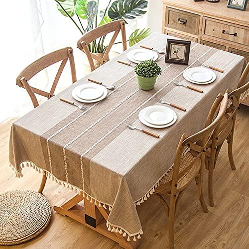 Mantel de Lino a Cuadros borlas, Mantel Rectangular Grueso para Boda, Mesa de Centro L140x220cm
