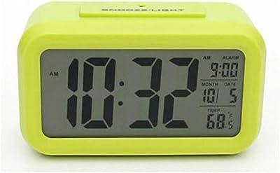 Hswt Reloj Despertador Digital Despertador electronico Luz Nocturna Fecha La Temperatura Gran Pantalla Digital Repetir la