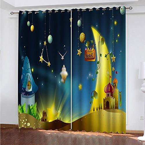 Cortinas Opacas Ojales Luna del Castillo Cortinas Estampado Opacas Térmicas Aislantes con Ollaos para Niños Hogar Dormitorio Salón Moderno,2 Pieza 220X215cm