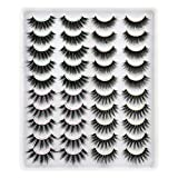 Lanflower Fake Eyelashes Natural Look Dramatic 3D Lashes Pack Faux Mink 20 Pairs 4 Styles