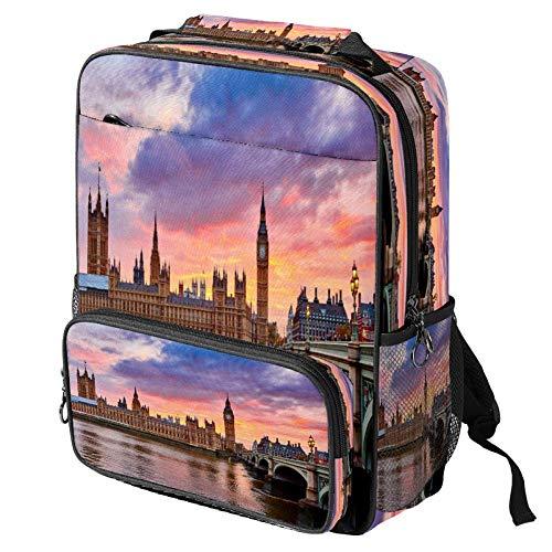 Mochila escolar informal hermosa puesta del sol sobre el campo de impresión mochila multifuncional para portátil, Patrón #4 (Multicolor) - backpacks013