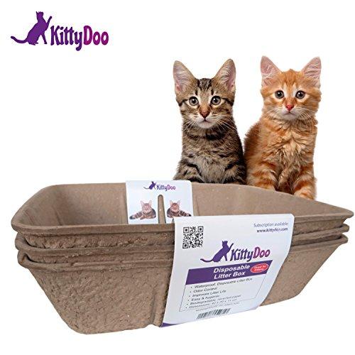 KittyDoo Katzenklo, Einweg Katzentoilette aus Karton, Kratzfest, Hygienisch, Geruchsarm, Atmungsaktiv (3er Pack)