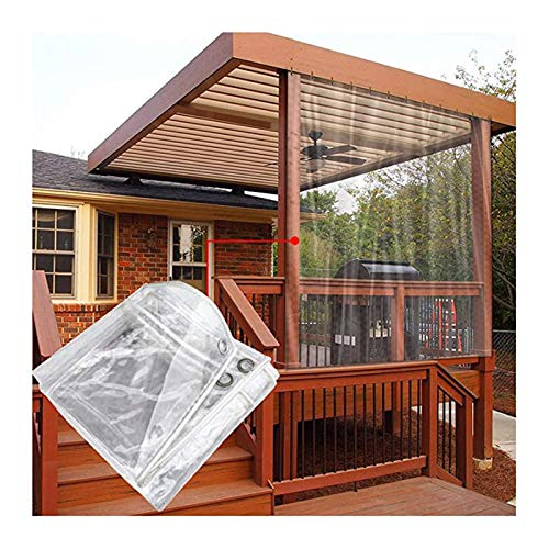 SHIJINHAO Clear Tarpaulin Heavy Duty Transparent Tarp,0.3mm PVC 420g/M² 100% Waterproof With Eyelets For Outdoor Courtyard Plant Cover, Size Can Be Customized (Color : Clear, Size : 1.6x4m)
