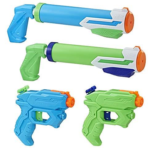 Nerf - Pistolets A Eau Nerf Super Soaker Floodtastic - Pack de 4 Pistolets A Eau Nerf Super Soaker (2 AlphaFire et 2 Tidal Tube)