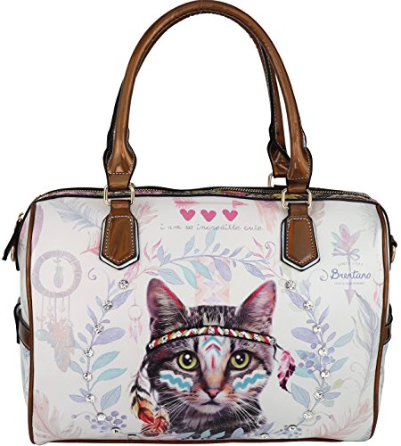B BRENTANO Vegan Cute Animal Graphic Top Handle Boston Shoulder Bag with Rhinestones (Boho Feline.)
