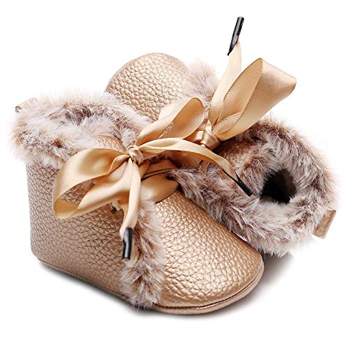 HONGTEYA Toddler Snow Boots Boys Girls Lace Up Baby Winter Booties Anti-Slip Warm Fur Infant Snow Boots First Walker Soft Sole Newborn Ankle Boots Toddler Moccasin(6-12 Months/6 US Toddler, Gold)