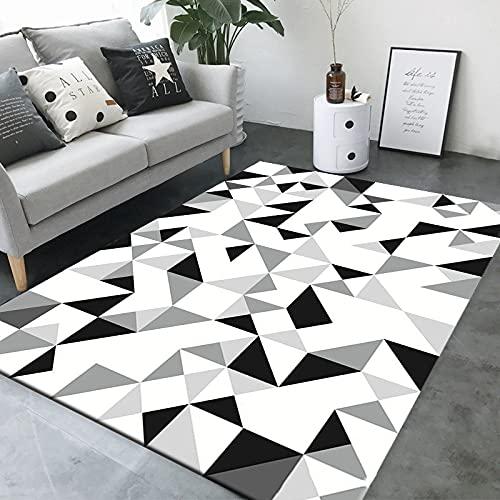 SunYe Alfombra nórdica Minimalista para Sala de Estar, Dormitorio, Alfombrillas para el Suelo, Alfombrillas geométricas con Dibujos rectangulares nórdicos creativos