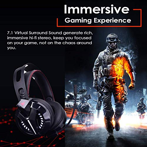 Combatwing Gaming Headset - PS4 Headset PC Headset Xbox One Headset with Noise Canceling Mic Gaming Headphones for PS4/Super Nintendo/Nintendo 64/Xbox One(Adapter Not Included)