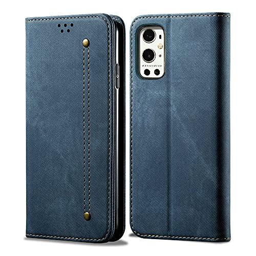 Oneplus 9 Pro 5G Premium-Denim-Lederhülle, Brieftaschen-Abdeckung, magnetisch, Flip Cloth Hülle, Cash und Card Slot One Plus 9Pro (6,7 Zoll) Phone Cover (Blau)