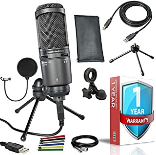 Audio-Technica AT2020USB+ Cardioid Condenser USB Microphone with Pop Filter, 10ft XLR, Cable Ties and 1-Year Extended 1 Ye...