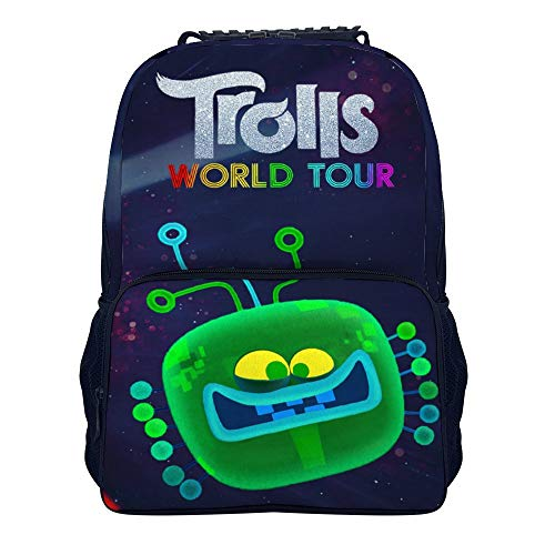 TRO-lls Wor-ld to-ur Trendy Travel Backpack for Men Women Classic 16 Inches School Backpacks for Students (15.7×11Inches)