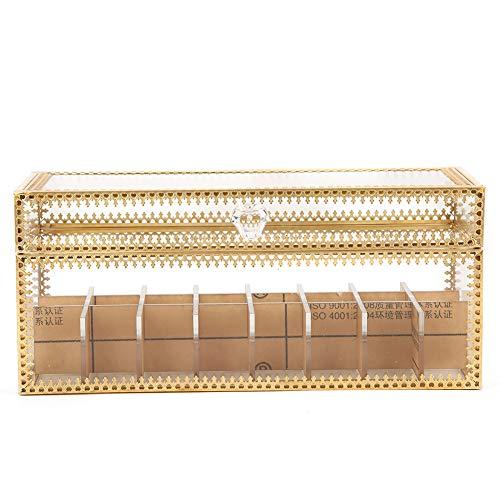 BuyWeek Caja de Almacenamiento de cosméticos, Barra de Cobre Borde Dorado Tipo de Cubierta abatible Lápiz Labial Organizador de contenedores de Almacenamiento de cosméticos
