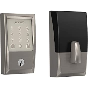 Schlage Lock Company BE489WB CEN 619 Schlage Encode Smart WiFi Deadbolt with Century Trim In Satin Nickel, Lock