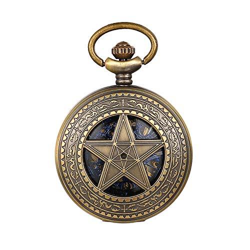 JewelryWe Reloj de bolsillo automático para hombre, clásico mecánico, estilo vintage, con colgante de estrella de cinco puntas, con cadena