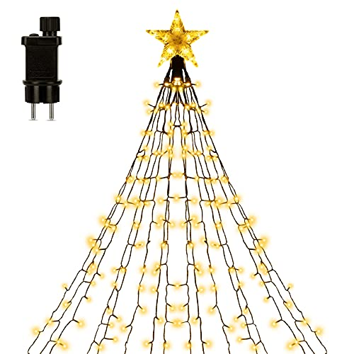 Lichterkette Außen Innen 1.5M x 14 Vorhänge mit LED Sterne, 178 LEDs Lichterkette Weihnachtsbaum, 8 Leuchtmodis, IP44 Wasserdicht Lichterkette Strom Mit Stecker für Weihnachten/Party Deko, Warmweiß