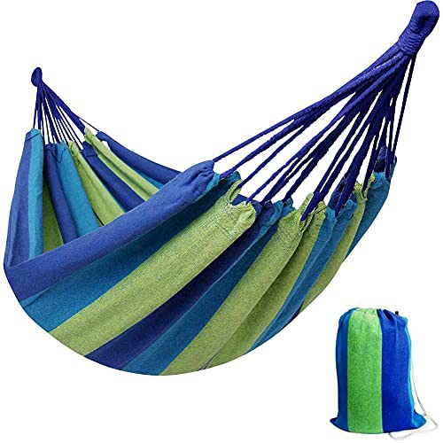 Brazilian Double Hammock 2 Person Extra Large Canvas Cotton Portable Hammock with Carrying Bag for Patio Porch Garden Backyard Lounging Outdoor and Indoor (Green Stripe)