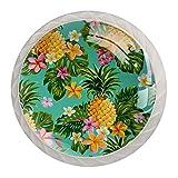 Tiradores redondos para cajones de cocina con diseño de piña tropical y flores, 4 unidades